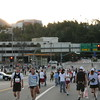 Walking from the Metro toward the start line.