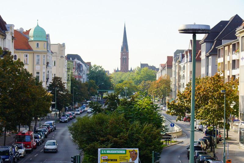 Bundesplatz, vy mot kyrkan som passerades efter 26 km löpning