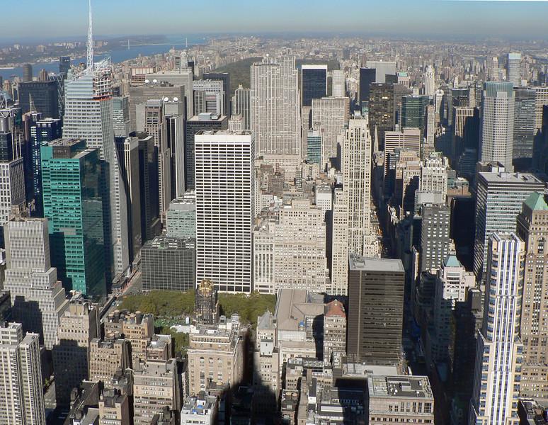 Vyer från ESB mot norr. Rockefeller Center skymmer delvis utsikten mot Central Park