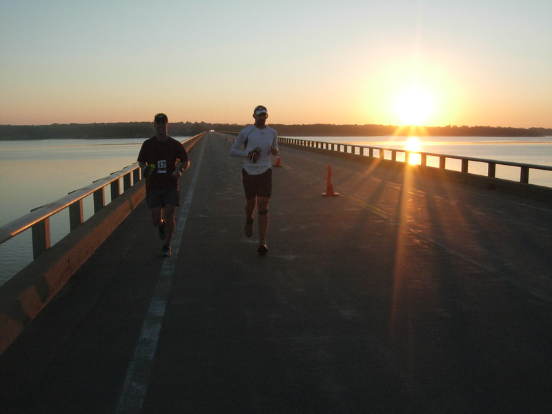 6:55am: crossing Saylorville Reservoir, about mile 14
