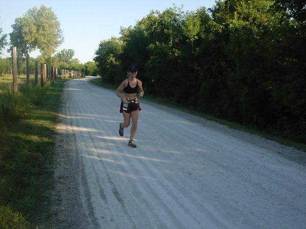 8:00am, heading toward northwest turnaround, mile 21, as lead female heads other way.