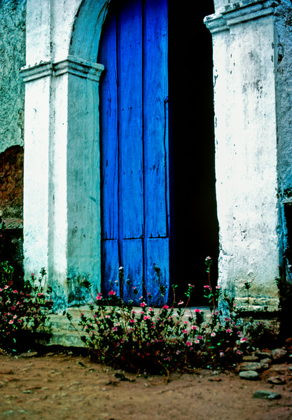Puerta Azul de la Iglesia (Blue Door of Church),  Ajoya, Sinaloa, Mexico