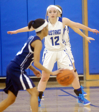 WARREN DILLAWAY / Star Beacon JESSICA VORMELKER (12) of Grand Valley defends Monique Jackson of Rootstown on Saturday during a Division III sectional championship game at Grand Valley.
