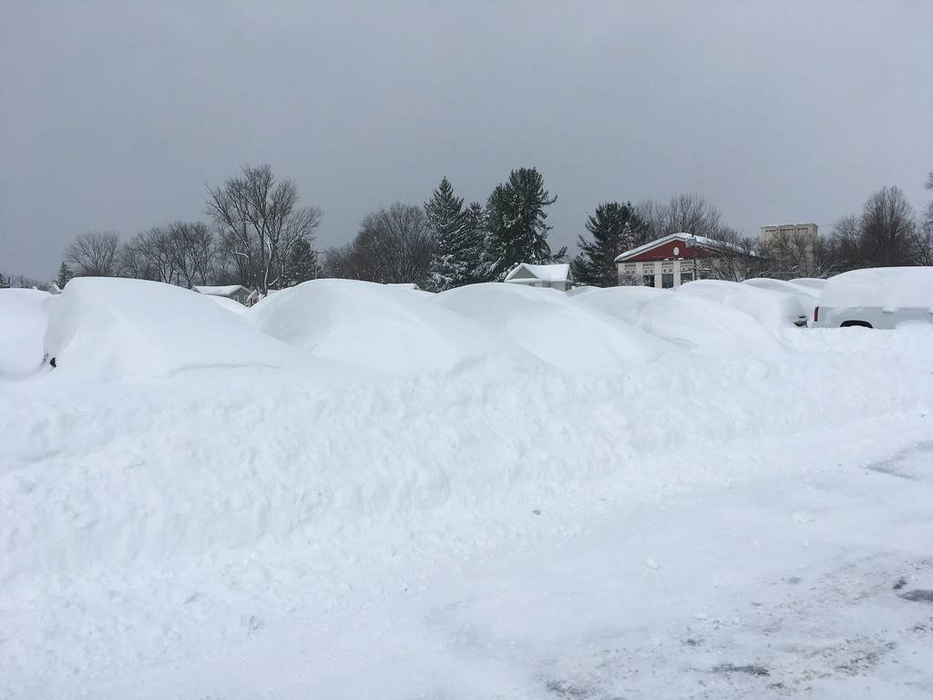 . Karen Alvord - Oneida Daily Dispatch Winter Storm Stella buried cars in Wilber-Duck\'s used car lot in snow on Wednesday, March 15, 2017.