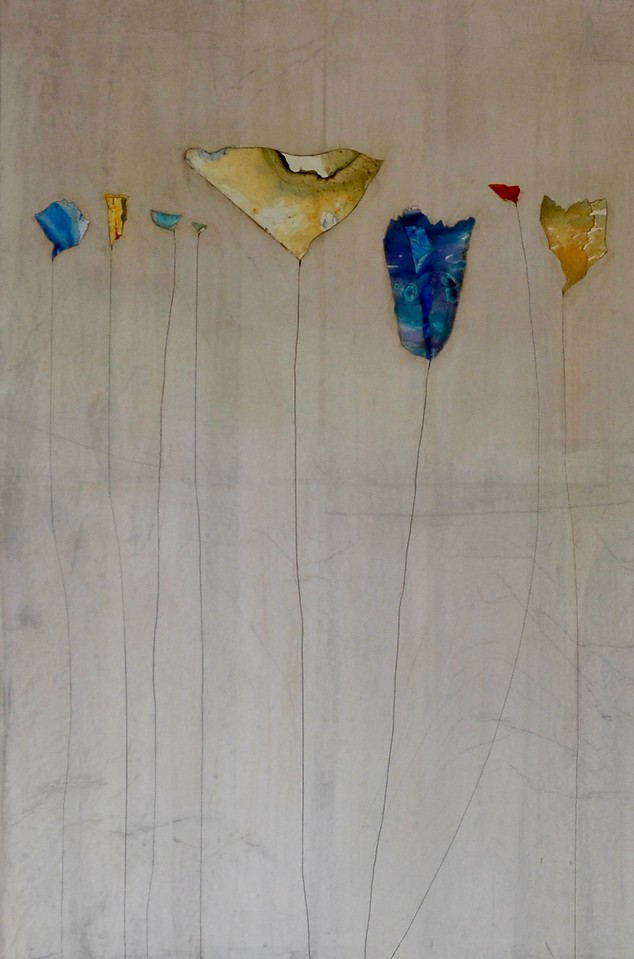 """Silver Melodies II-Kuttner, 60""""X40"""" mixed media on loose canvas"""
