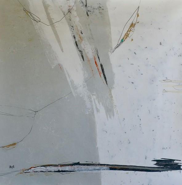 """Transmit 1"" by Prescott, 51""x52"" acrylic mixed media painting on canvas"