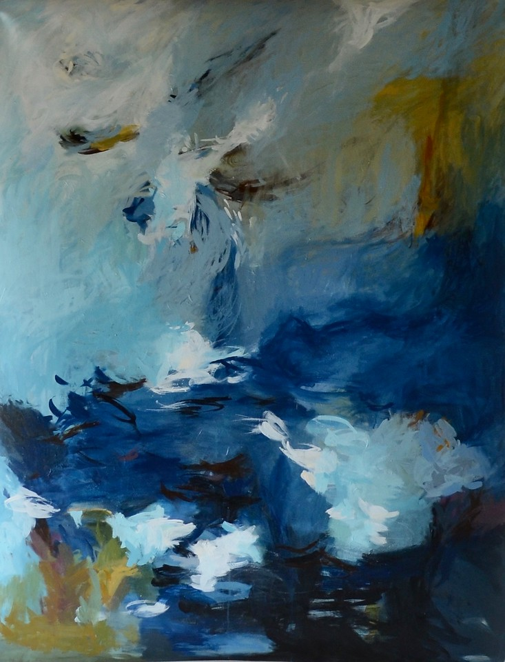 """Abstract-Browning (AECB18-04), 43""""x55"""" painting on loose canvas"""