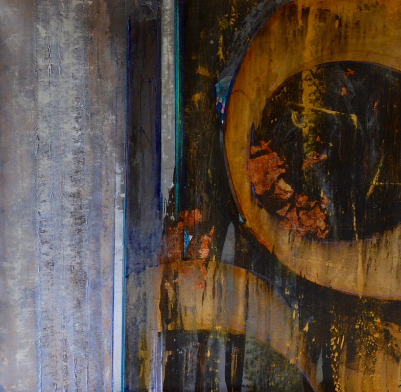 """In the Goove II-Kuttner, 50""""x50"""" mixed media painting on loose canvas"""