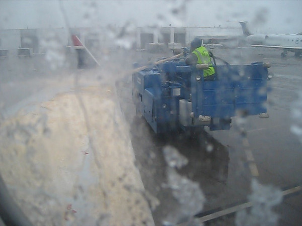 Our Flight left from the Birmingham Airport the same morning snow arrived.  We were delayed waiting for the de-icing machine.