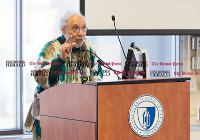 030316   Wesley Bunnell | Staff   Global Human Rights: Black Lives Matter conference was held on the campus of CCSU. Moderator Dr. Warren Perry giving introductory remarks for the next speaker Dr. Melanye Price.