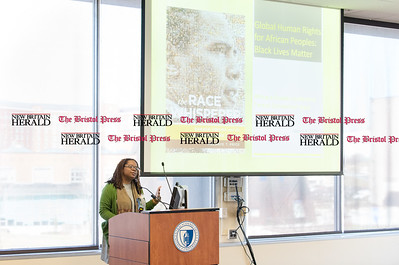 030316   Wesley Bunnell | Staff   Global Human Rights: Black Lives Matter conference was held on the campus of CCSU.  Dr. Melanye Price introducing her book The Race Whisperer: Barrack Obama and the Political Utility of Race.