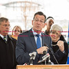 032816   Wesley Bunnell | Staff<br /> <br /> One year after the launch of CTfastrack Governor Malloy along with other government officials met to discuss the current and planned operations at the Flatbush Avenue Station in West Hartford.  Governor Malloy responding to questions from media.