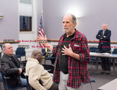 030316   Wesley Bunnell | Staff   Elections were held at the Democratic Town Committee's recent meeting. Incoming Town Committee Chairman Bill Shortell addresses the committee while outgoing Town Committee Chairman John McNamara is shown in the background.