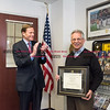 032216   Wesley Bunnell | Staff<br /> <br /> Veteran Ron Farina completed his studies & received his diploma 50 years after leaving CCSU for the Marine Corps & Vietnam.  Senator Blumenthal applauds Ron Farina with after presenting him with his diploma.