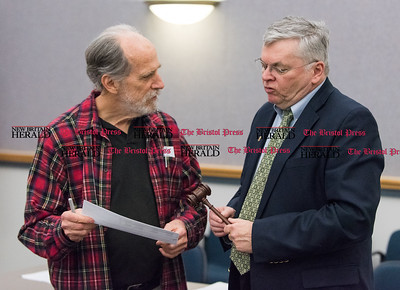 030316   Wesley Bunnell | Staff   Elections were held at the Democratic Town Committee's recent meeting. Incoming Town Committee Chairman Bill Shortell on the left discusses the nights proceedings with outgoing Town Committee Chairman John McNamara.