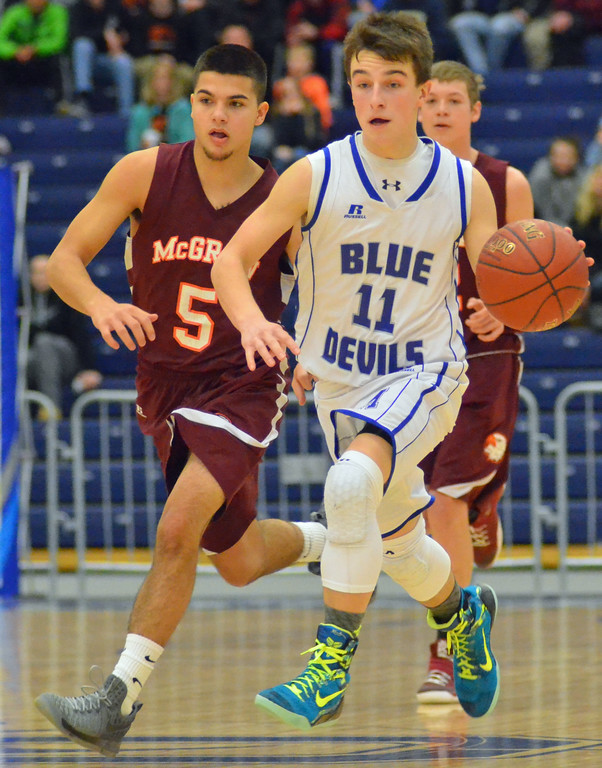 . KYLE MENNIG - ONEIDA DAILY DISPATCH Madison\'s Tyler Hummer (11) dribbles up the court in front of McGraw\'s Carter Towsley (5) during the Section III Class D final in Syracuse on Sunday, March 5, 2017.