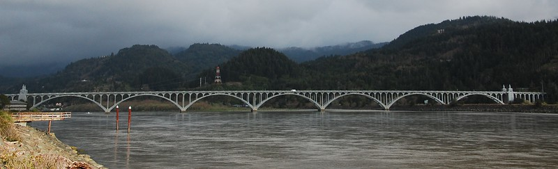 Awesome seven span bridge over the Rogue River on Hwy 101 going into Gold Beach, OR.