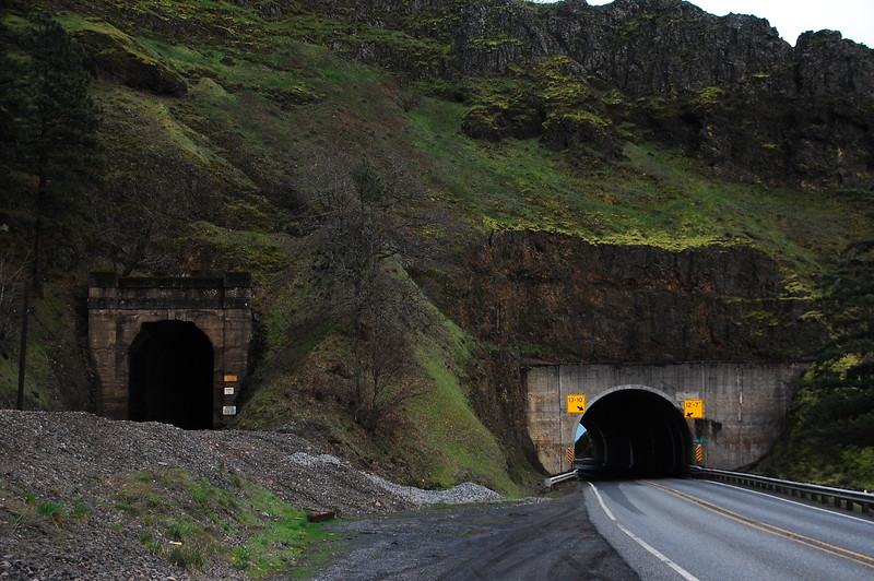 """I took Hwy 14 back west along the north shore of the CRG.  There are several tunnels along this stretch.  Because the Union Pacific Railroad lines also run along the river, most highway tunnels are """"side by side"""" with the railroad tunnels."""