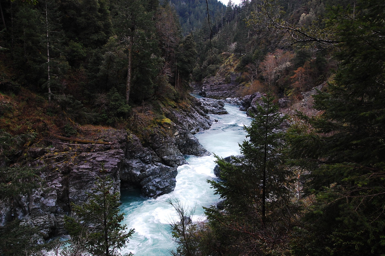 I left home on Monday morning, and poked along US 101 and then US 199 up into Oregon.  I stopped to take some pictures of the Smith River along US 199, which was flowing fast from all the rain and snow melt.