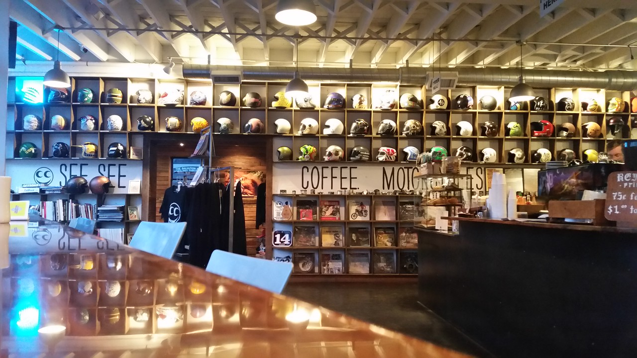 See See Coffee and Motorcycles.  Kind of a cool place.