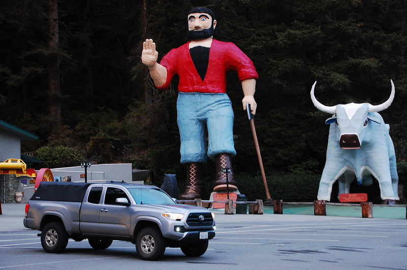 Finally, no Hwy 101 photo blog would be complete without the token shot of Paul Bunyon and Babe the blue ox, as they stand near Klamath, CA.  These guys are photographed a lot.<br /> <br /> Side note, and a great way to end this trip report: check out Babe's balls!  There ya go... oceans, sand, snow, rivers, moss, mountains, bridges and tunnels, human shit, and fake bull testicles.  A complete trip report.