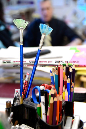3/16/2017 Mike Orazzi | Staff Greene Hills School Art Teacher Joe Johnson Thursday afternoon.