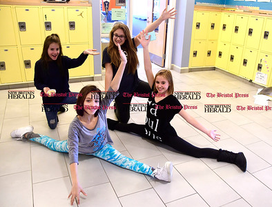 3/16/2017 Mike Orazzi | Staff Greene Hills School Art Club members back row: Nicole Labutis and Melanie Prosser, front row: Bella Perone and Rylee Mauro in the hallway Thursday afternoon.