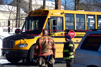 3/16/2017 Mike Orazzi | Staff The scene of a vehicle vs school bus crash with no reported injuries at the Ivy Drive School Thursday afternoon.