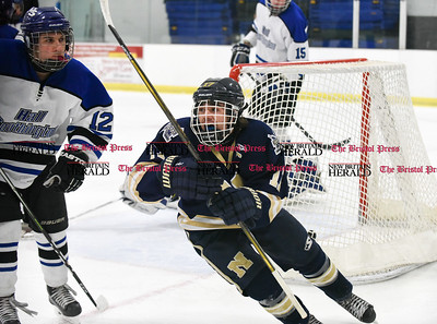 030617  Wesley Bunnell | Staff  Newington-Berlin Hockey at Hall-Southington in a Division III first round game played at Veterans Memorial Skating Rink in West Hartford. Alexander Borselle (17) after tying the game at 1 for Newington-Berlin.
