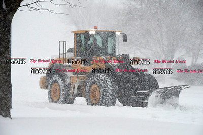 3/14/2017 Mike Orazzi | Staff Snow removal along North Main Street by Bristol Public Works during Tuesday's snow storm.