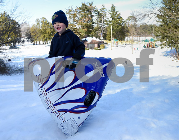 032017 Wesley Bunnell | Staff Andrew Haggett , age 5, sleds on Mar. 20, 2017, the first day of spring.
