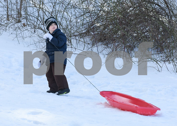 032017 Wesley Bunnell | Staff Ryan Haggett, age 3, pulls his sled back uphill on Mar. 20, 2017 which saw mild temperatures for the first day of spring.