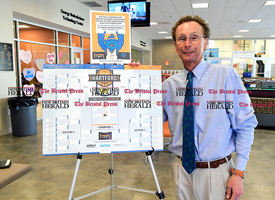 2/28/2017 Mike Orazzi | Staff Bristol Boys and Girls Club's Chief Professional Officer Michael Suchopar with a bracket tournament organized by Brackets For Good pitting club fundraising against others.