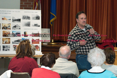 032217  Wesley Bunnell | Staff  The Berlin Historical Society held a presentation on the old train station which was destroyed by fire on December 21. Train enthusiast Jim DiSarro III speaks to the crowd.