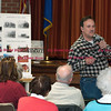 032217  Wesley Bunnell | Staff<br /> <br /> The Berlin Historical Society held a presentation on the old train station which was destroyed by fire on December 21. Train enthusiast Jim DiSarro III speaks to the crowd.