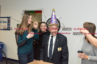 032317  Wesley Bunnell | Staff  Peter Spano, a WWII Navy Veteran, celebrated his 90th at Tunis Community College where is taking classes on March 22, 2017 with fellow veteran students and faculty.