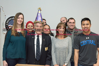 032317  Wesley Bunnell | Staff  Peter Spano, a WWII Navy Veteran, celebrated his 90th at Tunis Community College where is taking classes on March 22, 2017 with fellow veteran students and faculty. From left, Amber Humphrey, Deedee Rodriguez, Peter Spano, Jamaly Rios, Professor and veteran's mentor Karen DeBari & Darren Heckman.