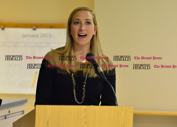 1/7/2015 Mike Orazzi   Staff South Side School's Julia Darcy during the Bristol Board of Educations' Mini Grant program on Wednesday evening.