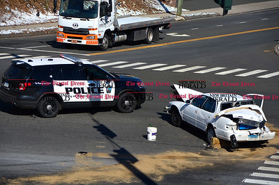 3/11/2017 Mike Orazzi | Staff The scene of a two crash at the intersection of Route 72 and Lincoln Avenue in the Forestville section of Bristol Saturday morning.