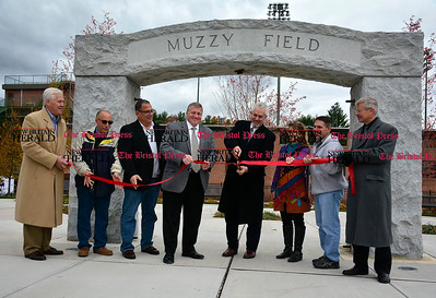 11/7/2014 Mike Orazzi | Staff Bristol Superintendent of Parks and Recreation Ed Swicklas cuts the ribbon at the newly renovated entrance to historic Muzzy Field on Friday afternoon.