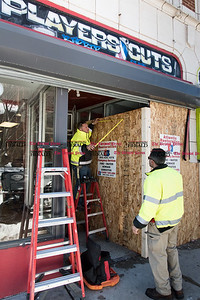 031717  Wesley Bunnell | Staff  An automobile crashed into the storefront of Players Barber Shop on Arch St in New Britain on March 17, 2017.