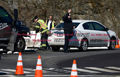 3/17/2017 Mike Orazzi | Staff The scene of a two car crash at the intersection of Broad and King Streets in Bristol Friday morning. One minor injury was reported by fire department personnel.