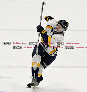 3/18/2017 Mike Orazzi | Staff Woodstock Academy's Ryan Black (7) falls over while celebrating a goalie during the CIAC 2017 State Boys Ice Hockey Tournament Division III Finals at Ingalls Rink in New Haven Saturday.