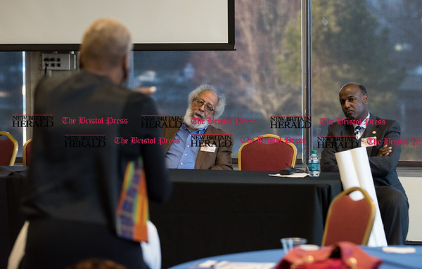 030217 Wesley Bunnell | Staff CCSU held their annual African Studies Conference on Thursday March 2 in Constitution Hall. IOC Director Paulette Fox asked one of several questions from the crowd to Dr. John Bracey, left, and Dr. Stanle Battle.