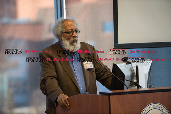 030217 Wesley Bunnell | Staff CCSU held their annual African Studies Conference on Thursday March 2 in Constitution Hall. Dr. John Bracey was one of several speakers.