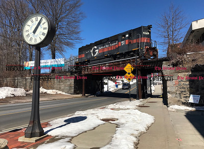 3/22/2017  Mike Orazzi | Staff The freight train rolls over the Main Street overpass on Wednesday in downtown Bristol.