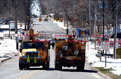 3/22/2017  Mike Orazzi | Staff Old Turnpike Road closed in Southington Wednesday morning after a tree fell on some wires.