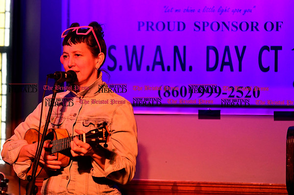 3/25/2017 Mike Orazzi | Staff Jen Taylor performs during SWAN DAY CT held at Trinity-on-Main Saturday night in New Britain.