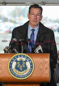 032817  Wesley Bunnell | Staff  Governor Dannel Malloy marked the 2nd anniversary of CT Fastrak on March 28, 2017. The governor rode from Union Station in Hartford to Elmwood Station in West Hartford where a ceremony was held at the adjacent 616 New Park which is under construction as a mixed use transit-oriented development project.