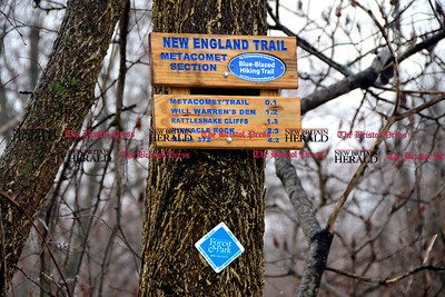 3/28/2017 Mike Orazzi | Staff The entrance to the Metacomet hiking trail off Route 6 in Farmington. The search of Rattlesnake Mountain continues from New Britain to Plainville and Farmington in the hopes of finding a 64-year-old hiker who has been missing since Saturday.